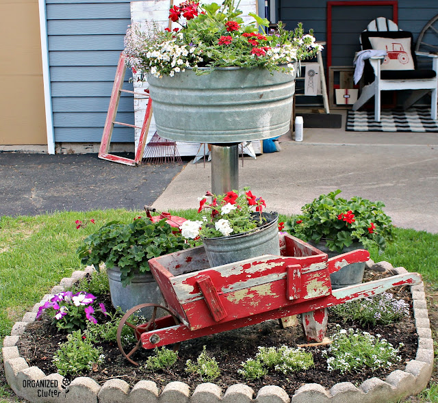 Decorating a Small Garden with Galvanized Planters & Junk