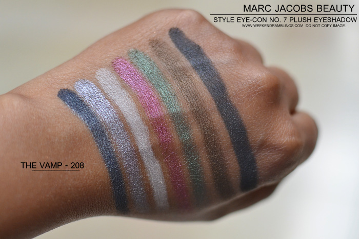 Marc Jacobs Beauty Style EyeCon No 7 Plush Eyeshadows Palettes Vamp 208 Starlet 204 Photos Indian Darker Skin Makeup Blog Swatches