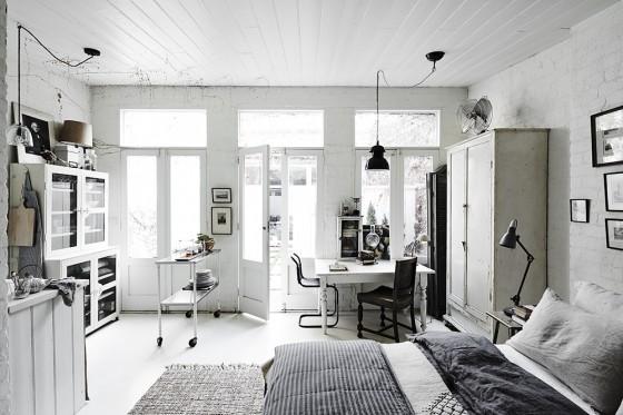 salon decoracion nordica loft estilo nordico escandinavo cama mesa blanca