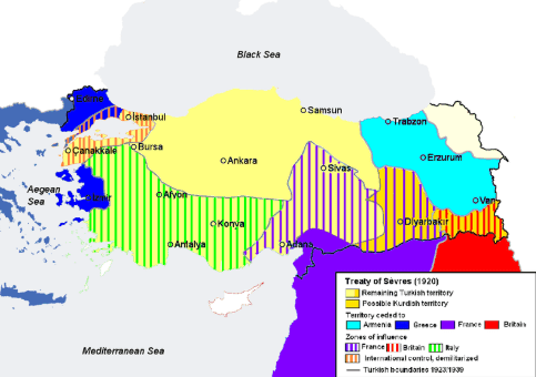 The Treaty of Sevres 1920 AD: Division of Ottoman Territories