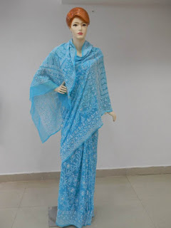 Lucknowi Chikan Blue Georgette Saree