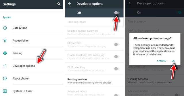 developer options on