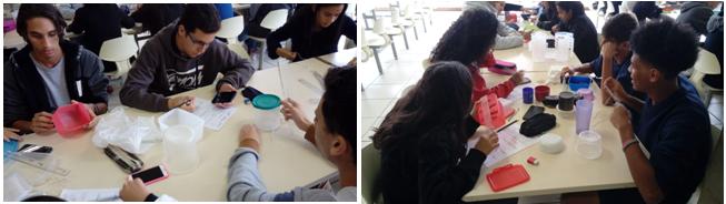 Figuras 3 e 4:Alunos realizando as medições com régua e barbante.