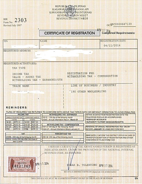 Certificate of Registration Form (BIR FORM 2303)