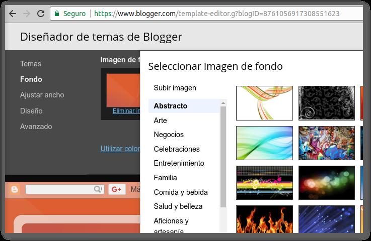 Blogger - Cambiando el fondo y cabecera de mi blog
