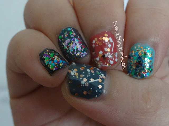 colorful glittery nails using Etude House and Innisfree nail polishes