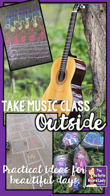 Outside activities for music class can be just as engaging as activities that you plan for inside the music room.  Sing, dance, play and assess in the sunshine.  Nine practical ideas for beautiful days in music class.