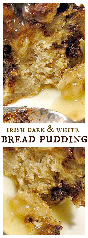 Irish Dark And White Bread Pudding