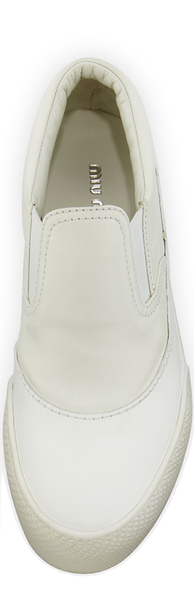 Miu Miu Forma Leather Platform Skate Sneaker, White