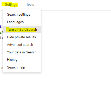 Cara mematikan SafeSearch Google