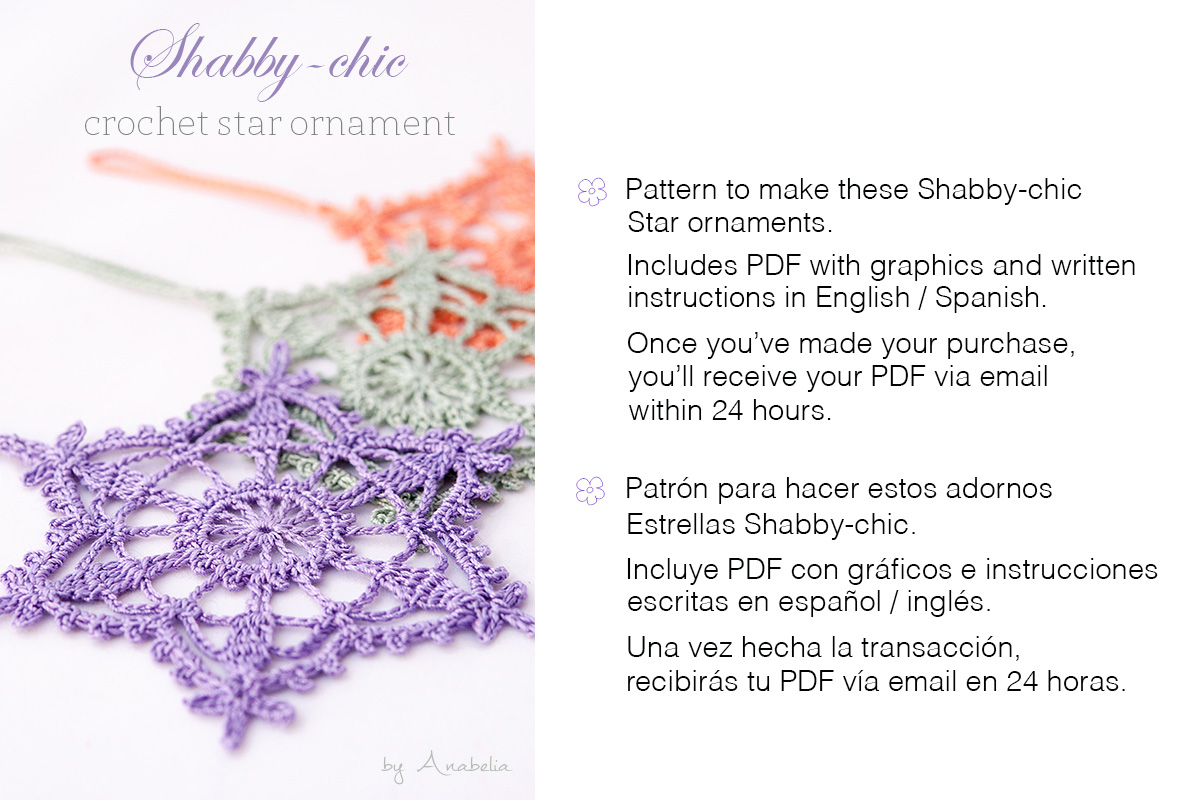 Shabby-chic crochet star ornament pattern by Anabelia