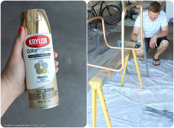 Chrome Chairs Go Gold & A Game Table + How To Spray Paint