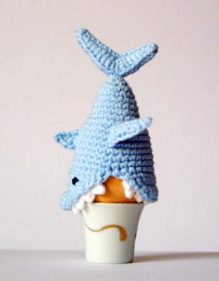 crochet shark Easter Egg Cozy