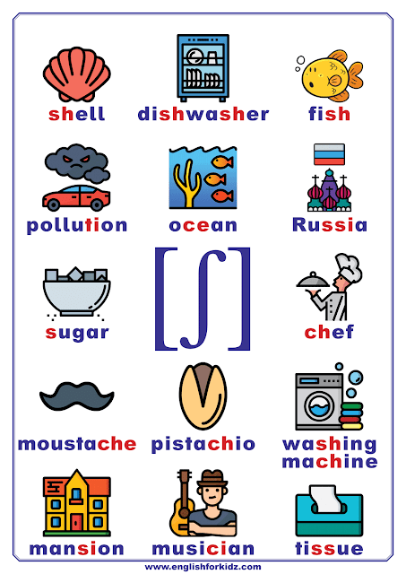 Phonics chart - consonant phoneme ʃ - words and pictures