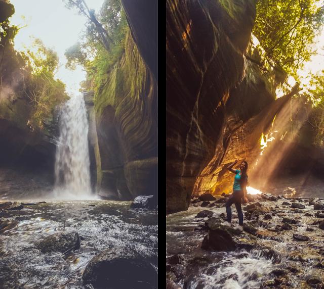Duas fotos, uma com a cascata e outra com os raios de sol