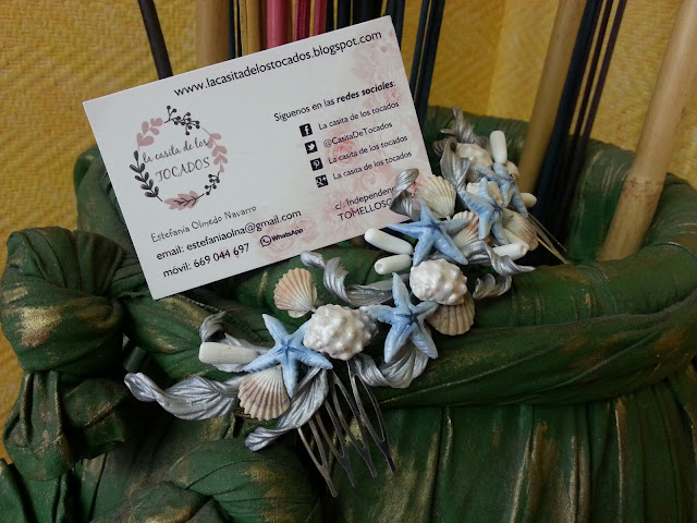 Semicorona marinera de porcelana para novia