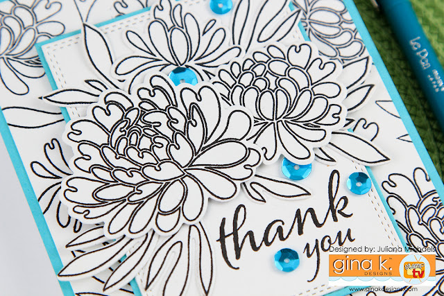 Thank You Black and White Floral Card by Juliana Michaels featuring the Dazzling Dahlia Stamp Set from the Gina K Designs Sentimental Summer Stamp TV Kit