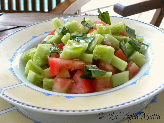 insalata di pomodori e cetrioli cena Villa Kalogris