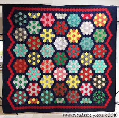 Hexagon Quilt made by Sue in the 1970's,  finished and quilted by Frances Meredith