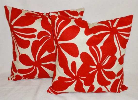 Large red floral pillows for patio