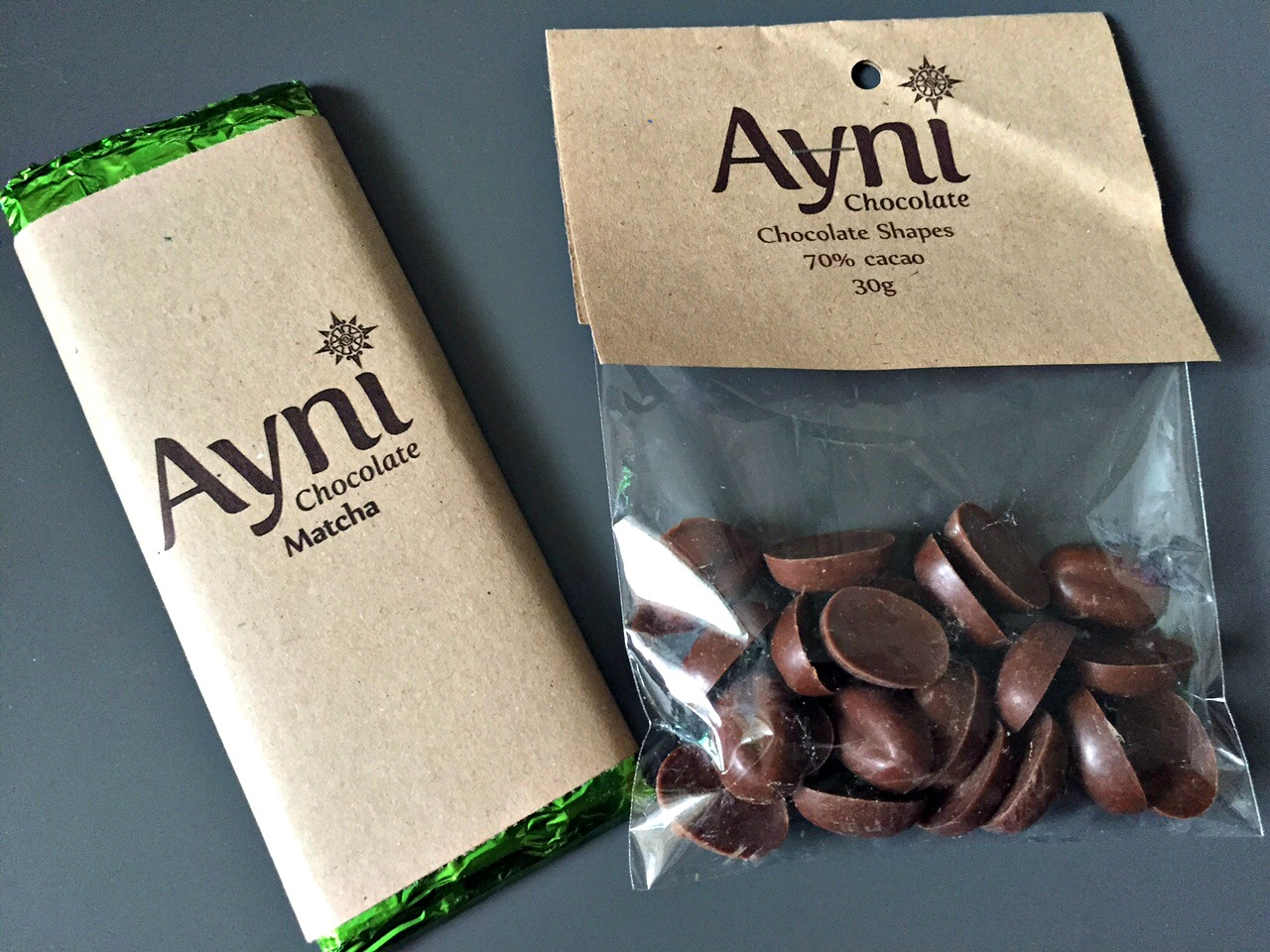 Ayni matcha chocolate and 70% chocolate shapes