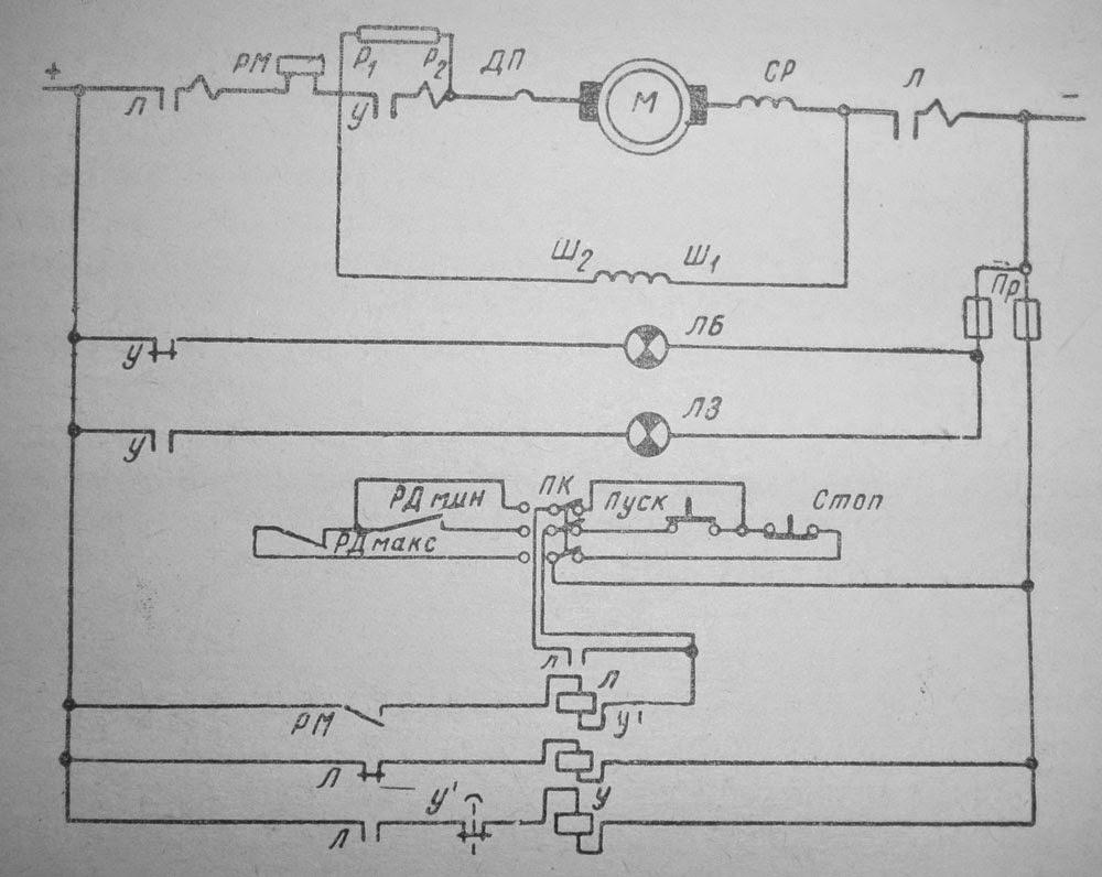 Схема автоматического управления электродвигателями санитарных насосов
