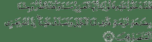 Surat Yusuf Ayat 88