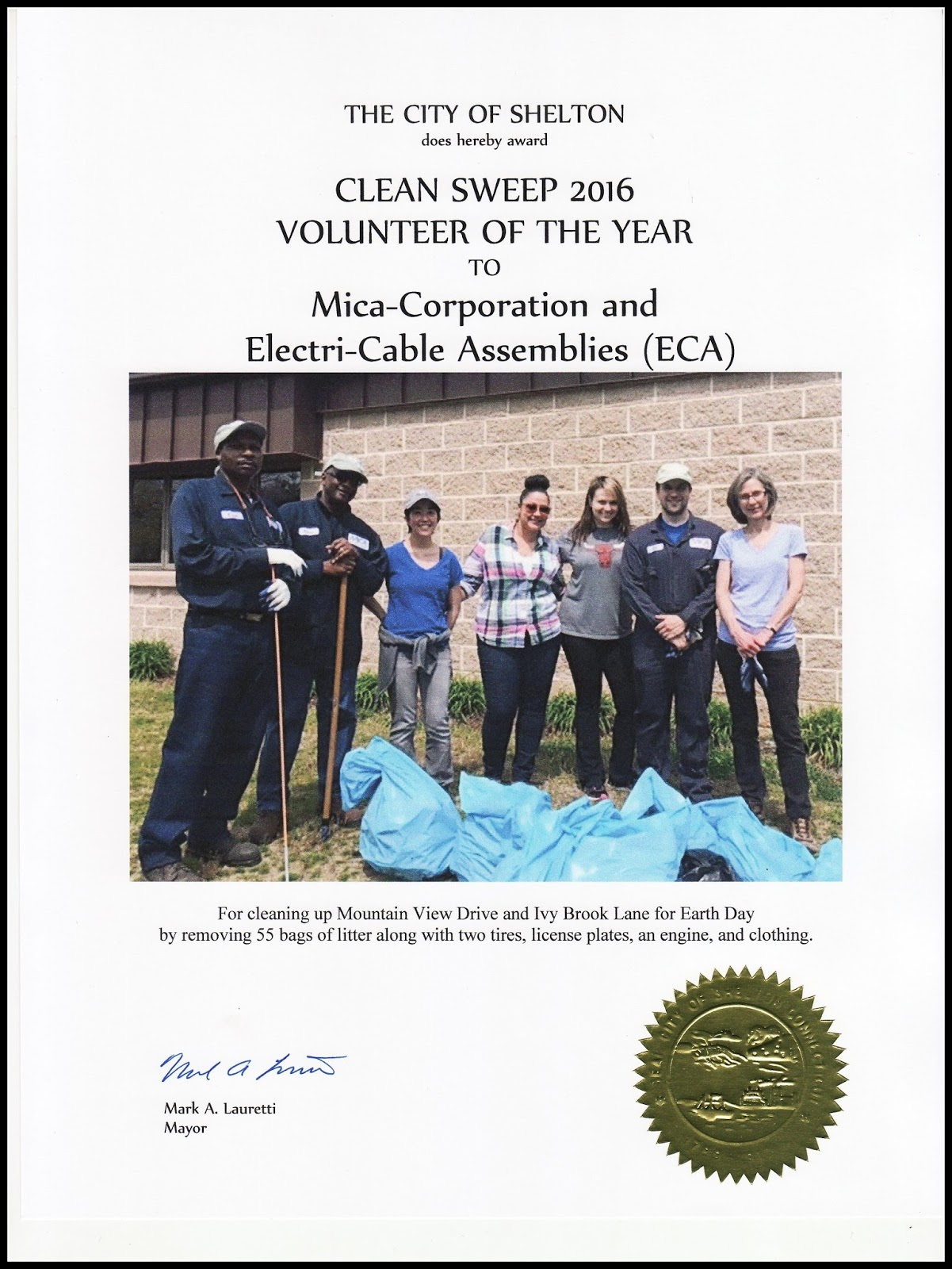 Electri Cable Assemblies Shelton Ct : Shelton anti litter committee clean sweep awards