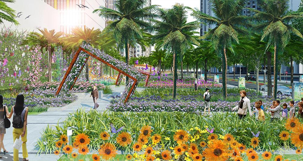 Vườn hoa cầu vồng tại Goldmark City