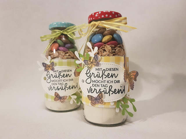 Stoffpapier - Stampinup - Cookis im Glas - Verpackung - Geschenk - Schmetterlinge - Frühling