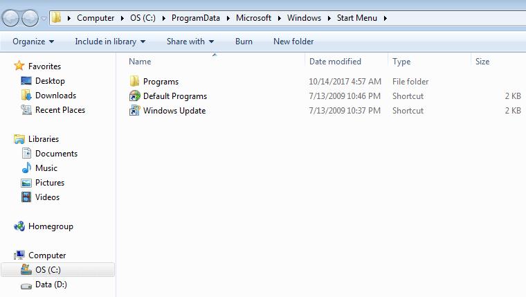 tampilan start menu windows 7