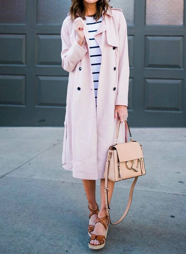 casual style addiction / blush trench coat + striped dress + bag + platform sandals