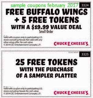 Chuck E Cheese coupons for february 2017