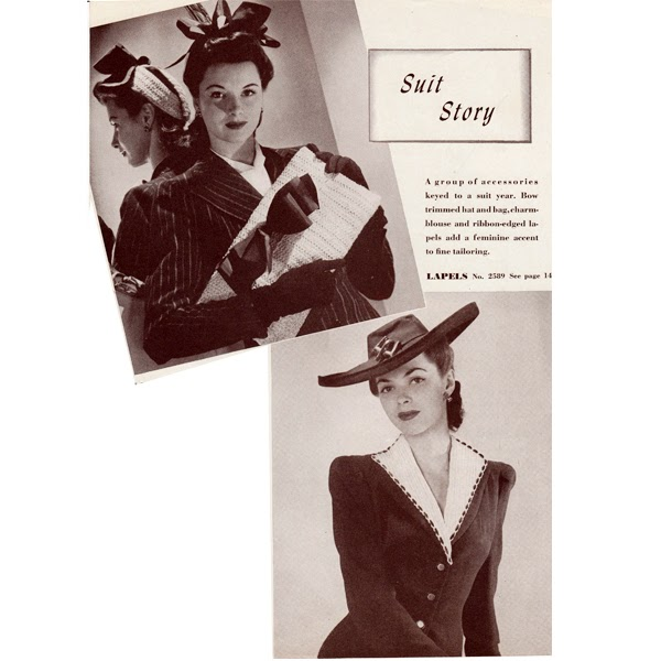 Crochet lapel collar, hat and handbag pattern