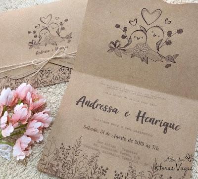 convite de casamento artesanal personalizado floral rústico casamento no campo papel kraft estampa delicada arabesco casal de passarinhos love birds mini wedding