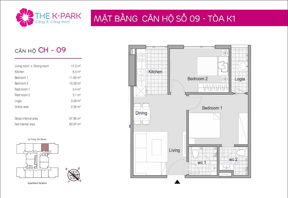 Mặt bằng căn hộ số 09- Tòa K1