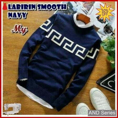 AND201 Sweater Pria Labirin Halus Biru Navy BMGShop