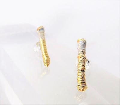 Handmade earrings, gold ear climber earrings