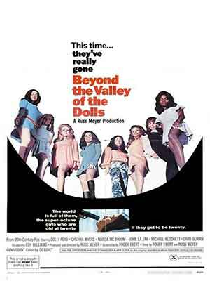 Beyond the Valley of the Dolls, producida por 20th Century-Fox es la primera película de Russ Meyer con un amplio presupuesto.