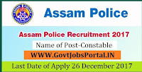 Assam Police Recruitment 2017– 145 Constable
