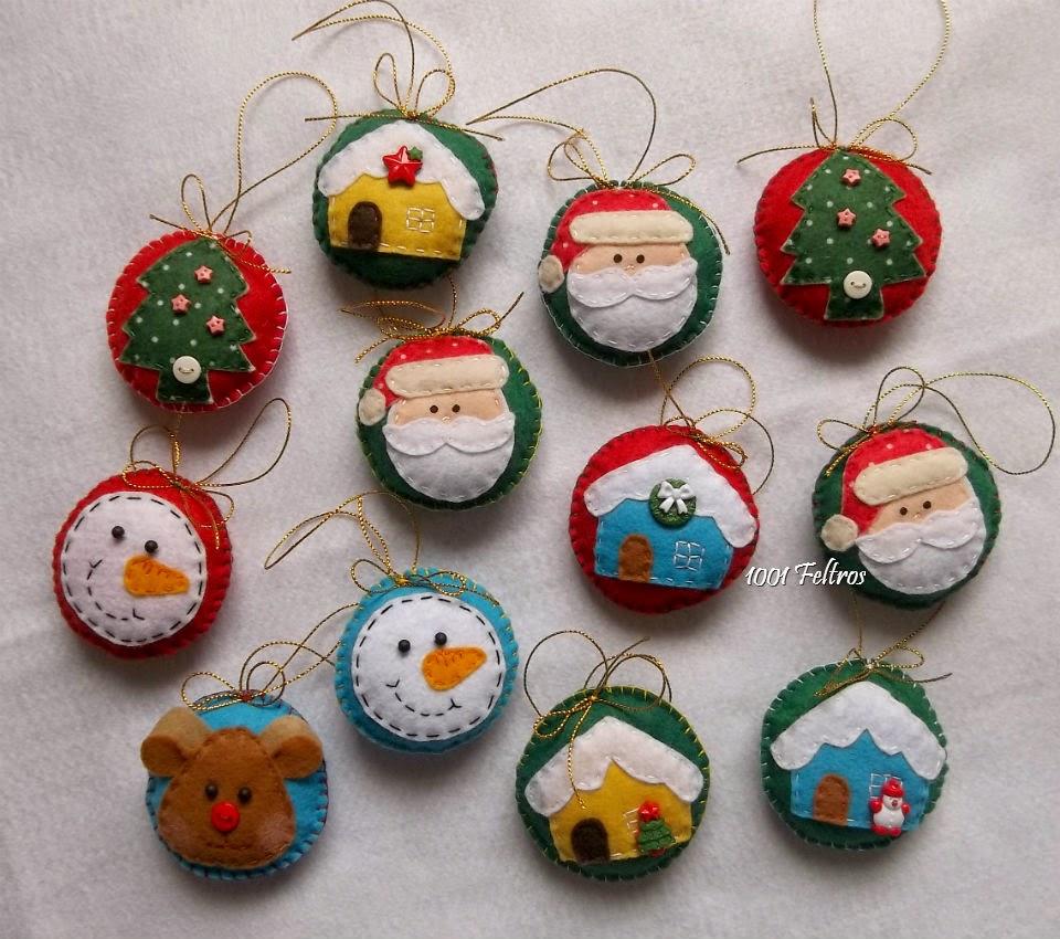 Artesanato Tecido Franzido ~ 1001 Feltros Enfeites de Natal