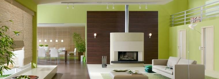 Paredes de sala en color verde salas con estilo - Pintura pared verde ...
