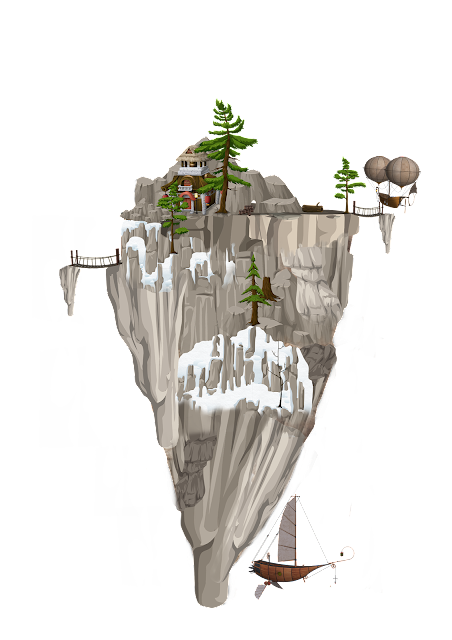 A floating mountain orbited by flying machines.