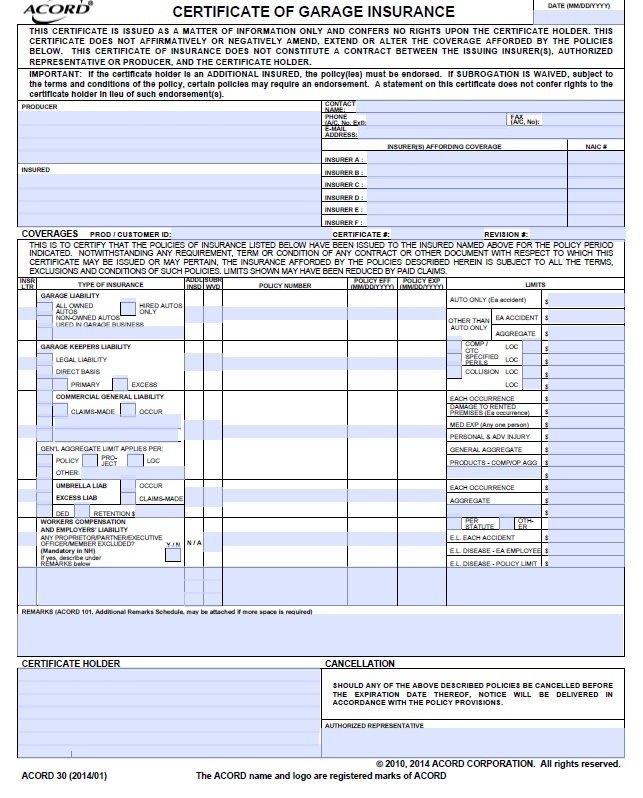 Simply-Easier-ACORD-Forms ACORD 30 Certificate of Garage Insurance