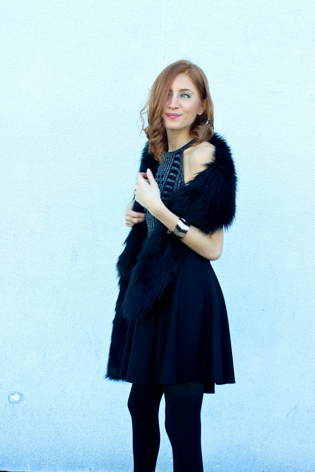 New Years Eve glam look- faux fur stole, black sequins