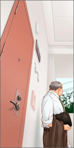 ドアの斜め前に立つおじさん