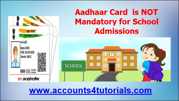 not mandatory aadhaar card for school admissions