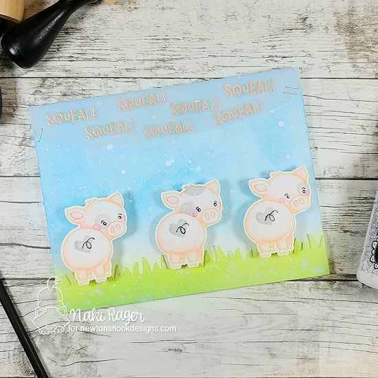 Squeal! Pig butts Card by Naki Rager | Oink Stamp Set, Speech Bubbles Die Set, and Land Borders Die Set by Newton's Nook Designs #newtonsnook #handmade