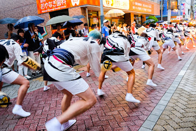 Men's group dancing at the Koenji Awa-Odori Parade, Tokyo, 2016.