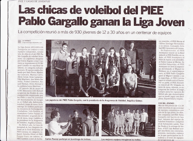 NOTICIAS CRÓNICAS DE SAN JOSÉ: Las chicas del voleibol del PIEE Pablo Gargallo gana la Liga Joven